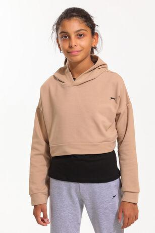 Slazenger - Slazenger DUA Kız Çocuk Sweatshirt Bej / Siyah